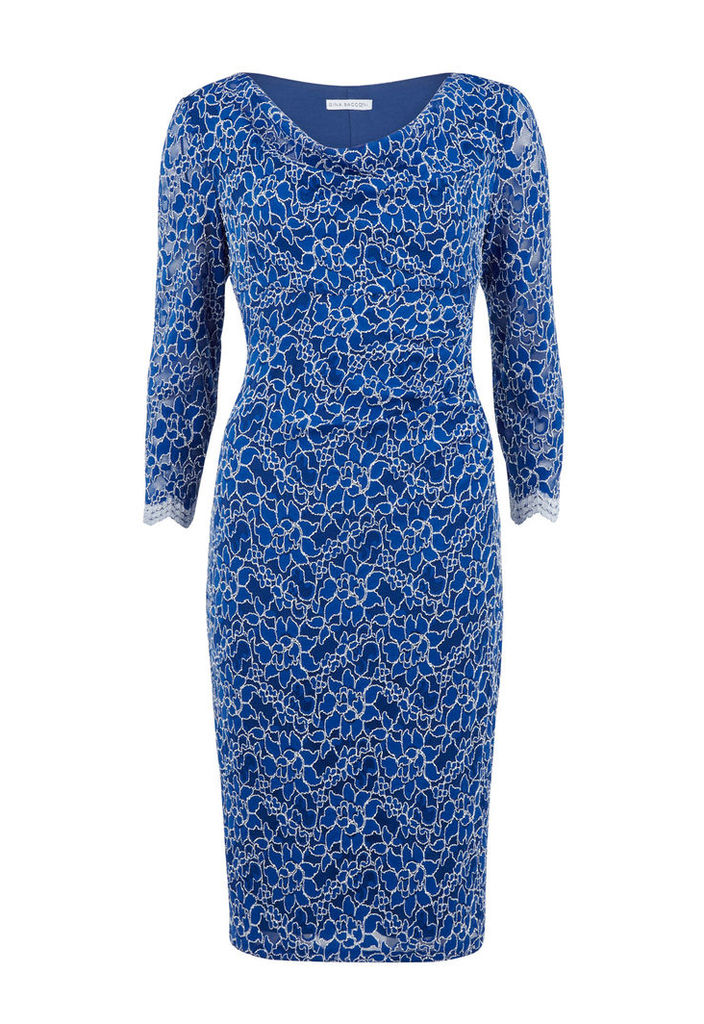 Gina Bacconi Lace Dress with Cowl Neck
