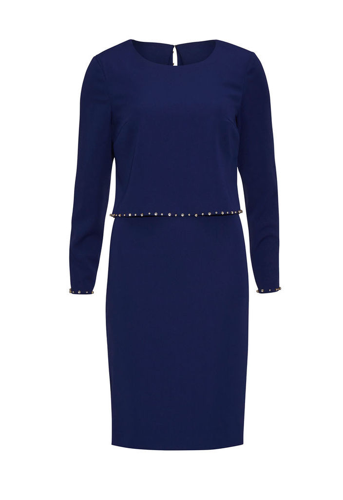 Gina Bacconi Long Sleeved Crepe Dress with Jewel Embellishment in Blue