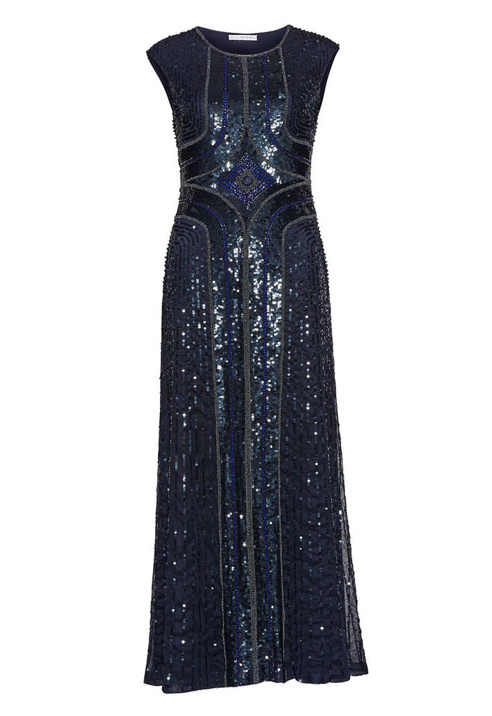 Gina Bacconi Embellished Maxi Dress in Navy