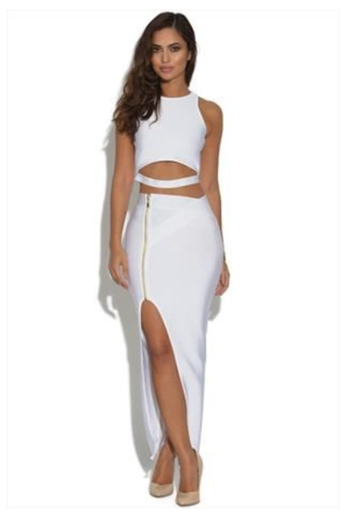 Luxe White Top and Maxi Skirt Set