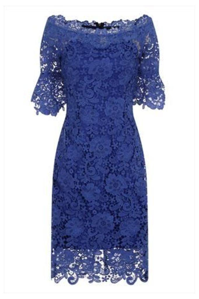 Blue Floral Crochet Lace Bardot Dress