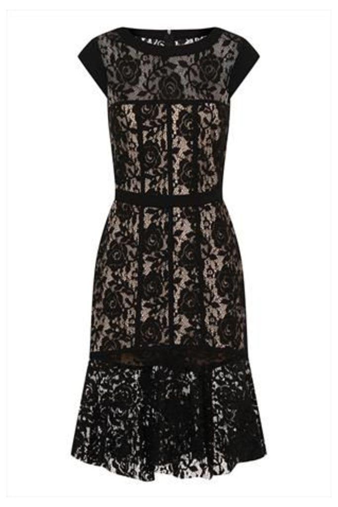 Black Lace Peplum Hem Dress