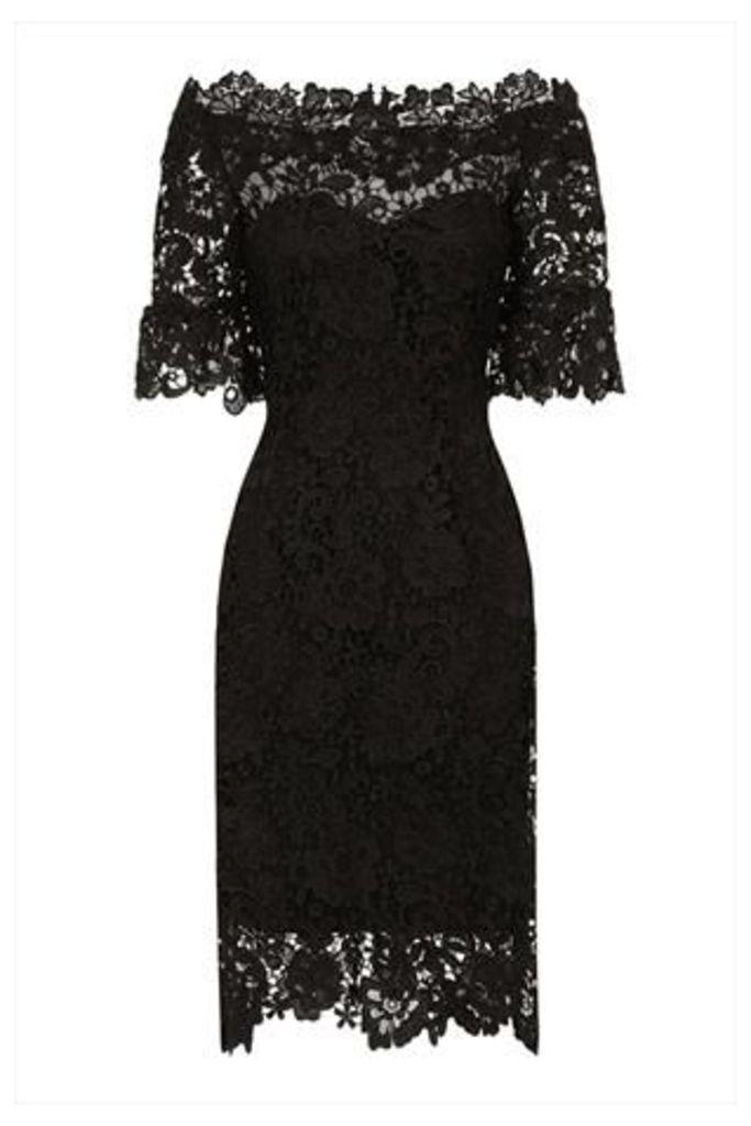 Black Floral Crochet Lace Bardot Dress