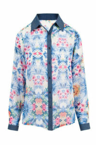 Tropical Palm Print Chiffon Shirt