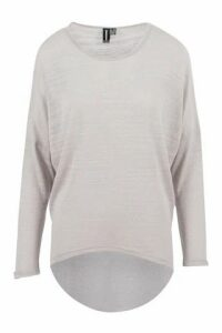 Lightweight Knit Batwing Top With High Low Hemline