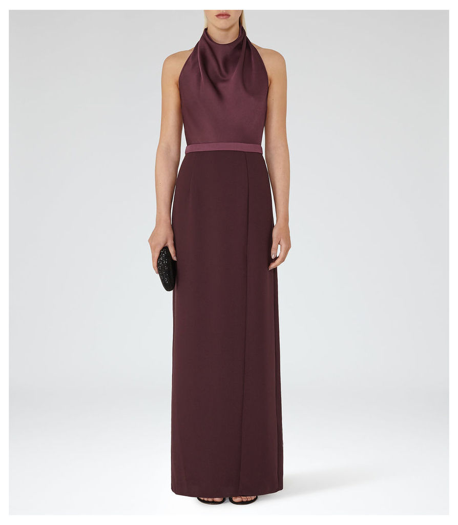 REISS Adelina - Womens Halterneck Maxi Dress in Red