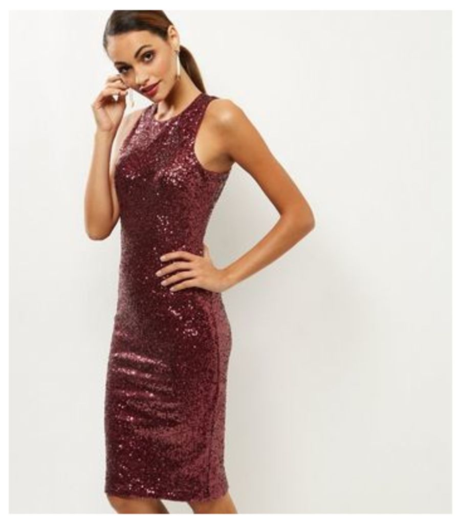 Burgundy Sequin Sleeveless Bodycon Midi Dress