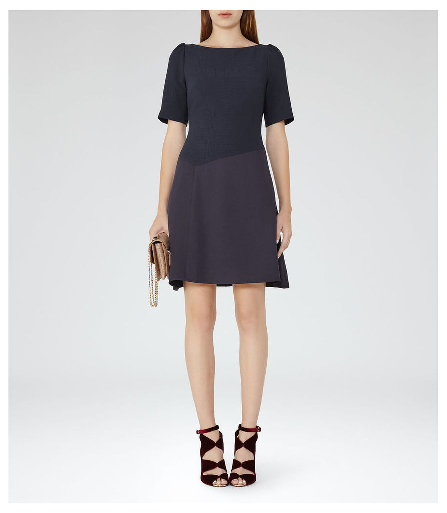 REISS Zila - Womens Textured Fit And Flare Dress in Blue
