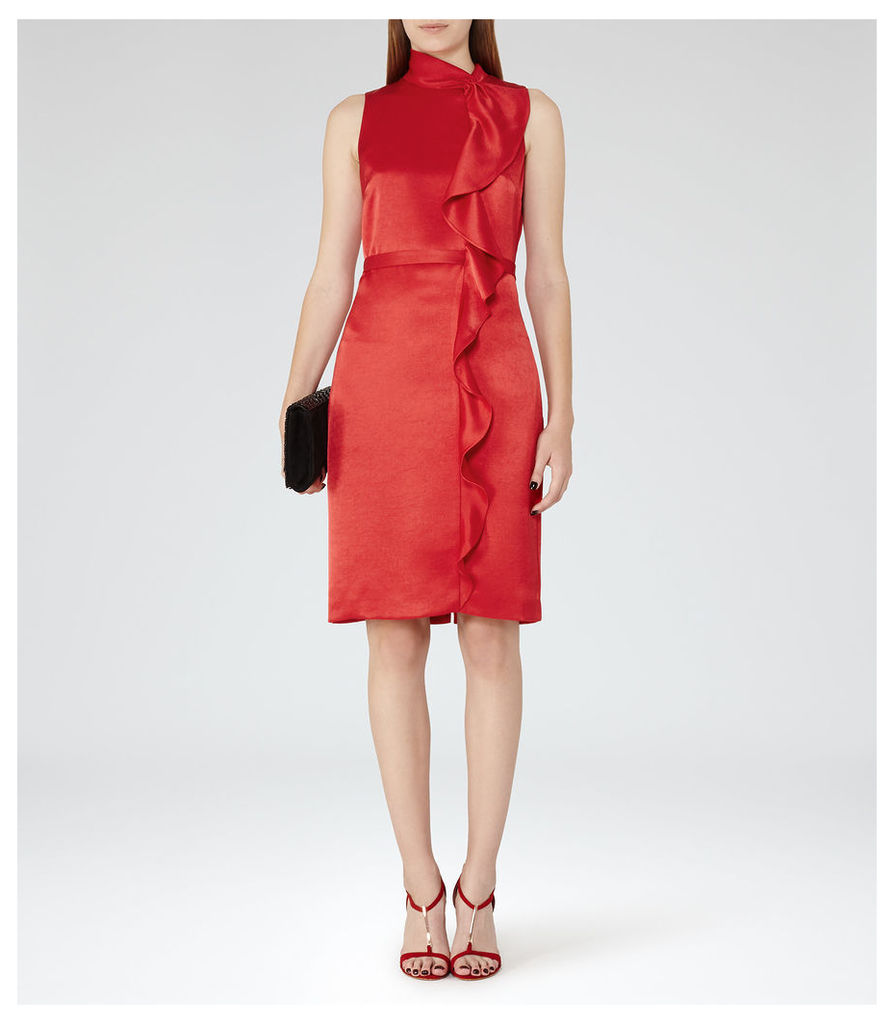 REISS Lola - Womens Ruffle-front Dress in Red