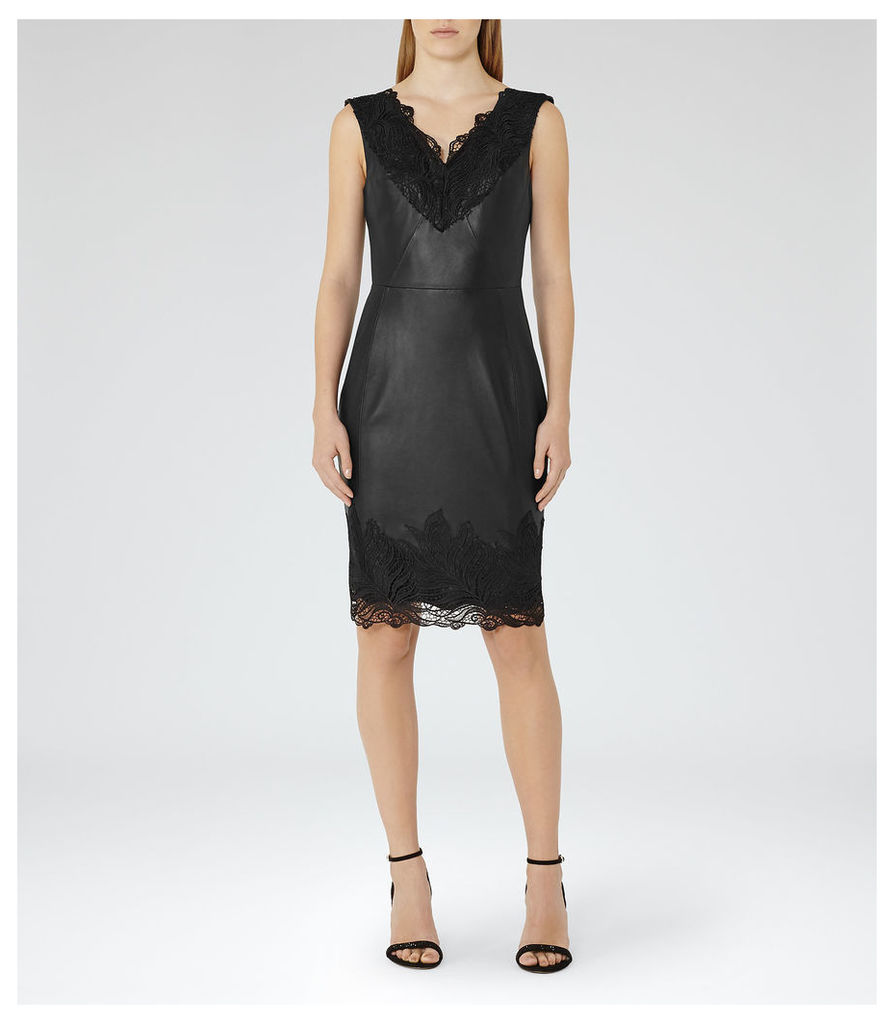 REISS Etty - Womens Leather And Lace Dress in Black