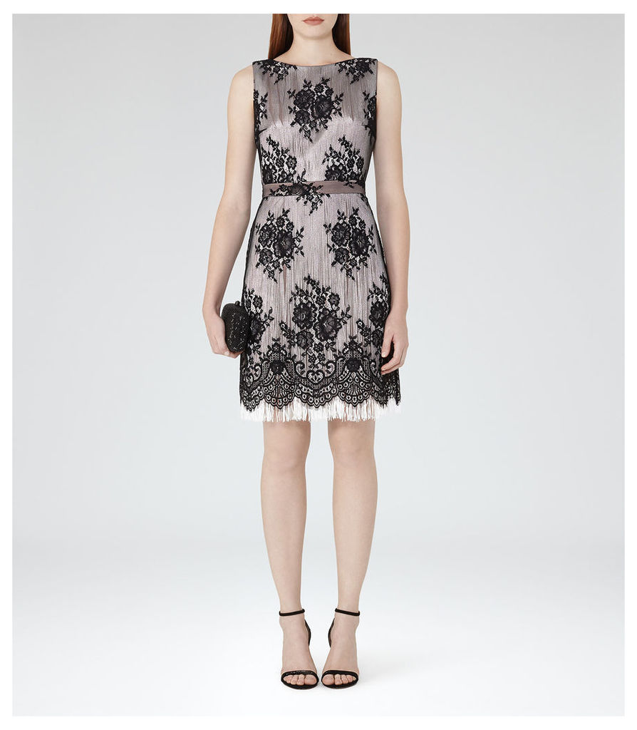 REISS Eleonora - Womens Lace And Fringe Dress in Black