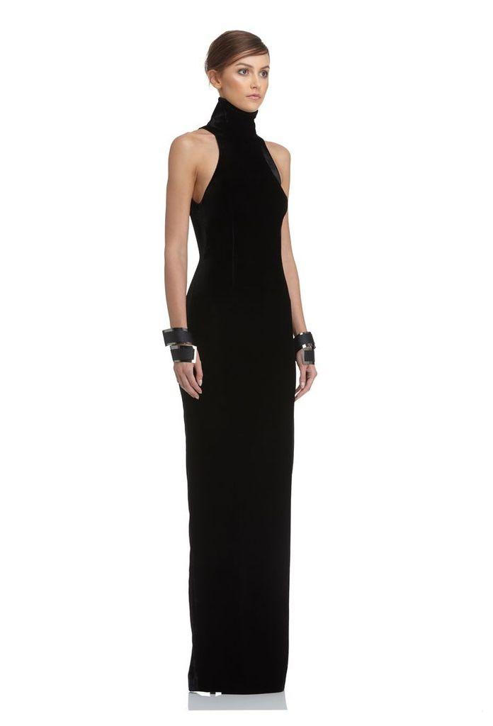 Hale Velvet Maxi Dress - Black