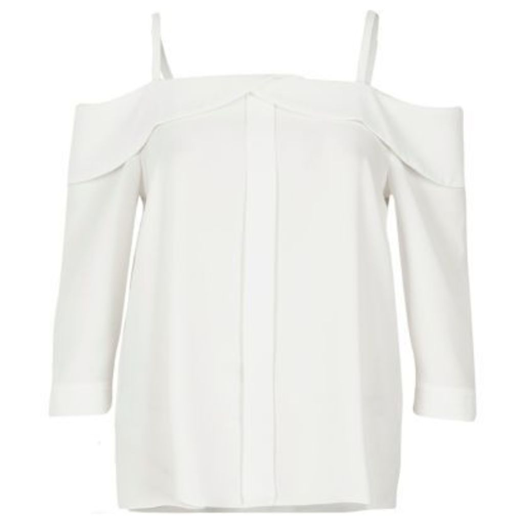 River Island Womens White placket cold shoulder top