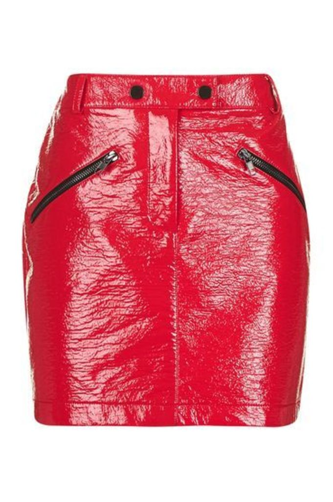 Womens Vinyl Zip Pocket Mini Skirt - Red, Red