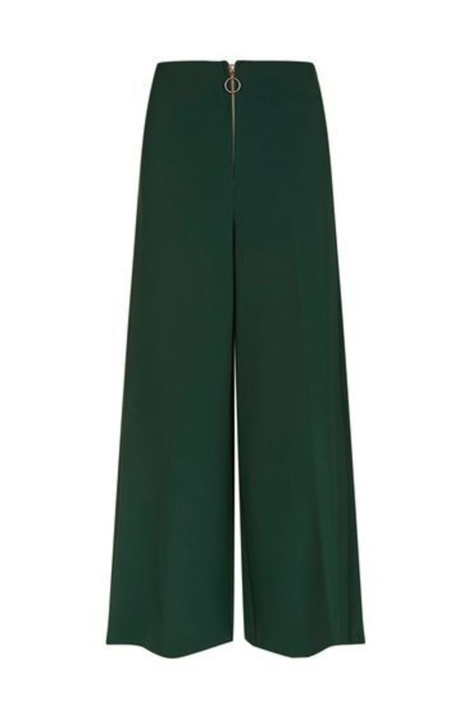 Womens Zip Front Cropped Wide Leg Trousers - Dark Green, Dark Green