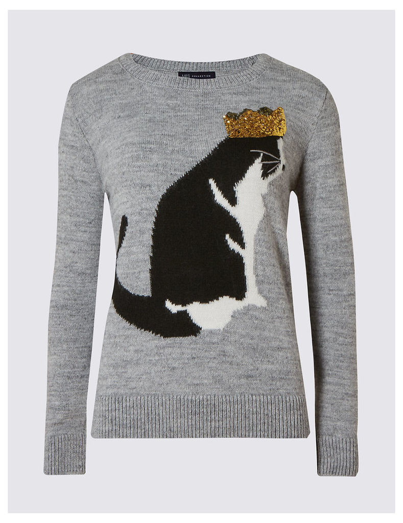 M&S Collection Embellished Cat Print Christmas Jumper