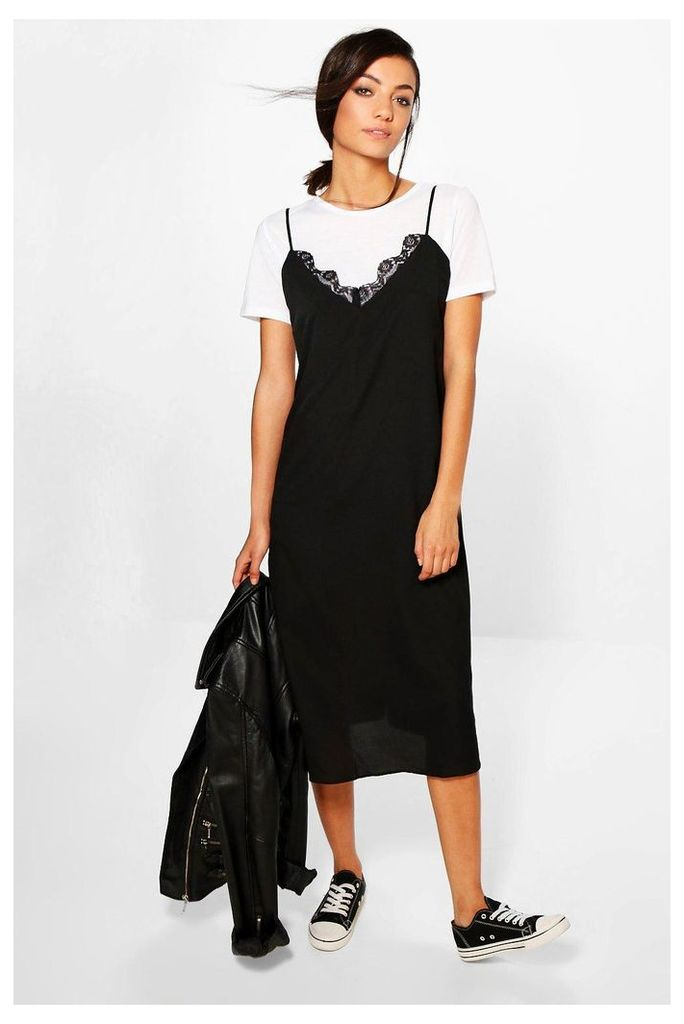 Saddie Tee And Woven Slip Dress - multi