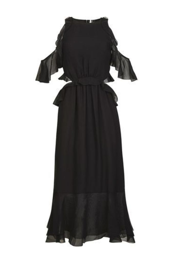 Womens Ruffle Open Back Dress - Black, Black