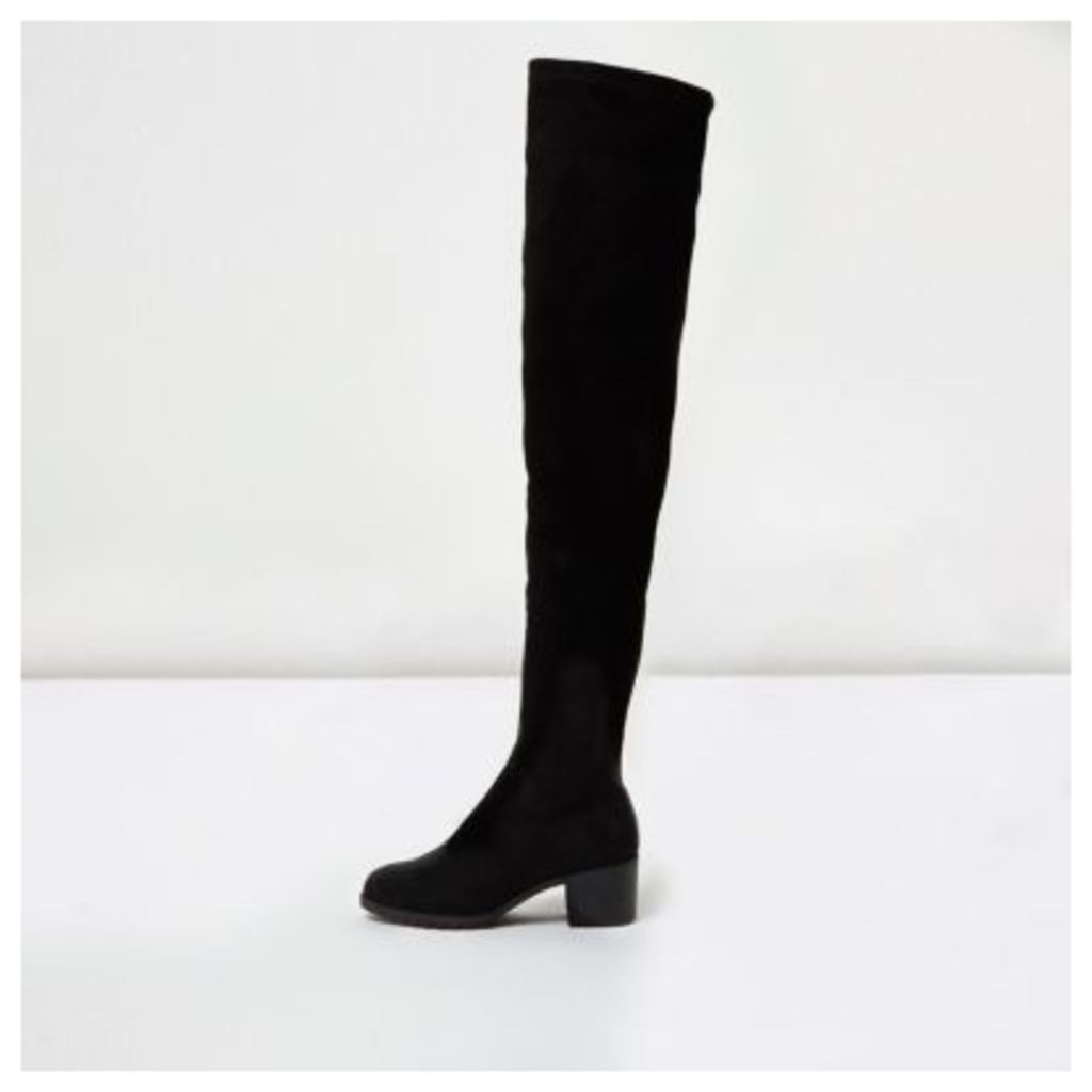 River Island Womens Black soft wide fit over the knee boots