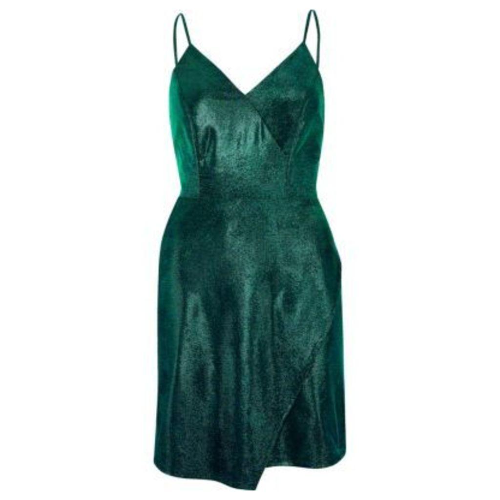 River Island Womens Green metallic wrap slip dress
