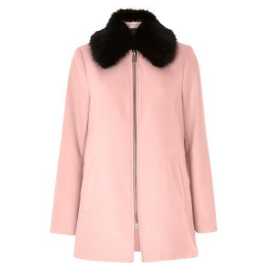 River Island Womens Light Pink faux fur collar swing coat