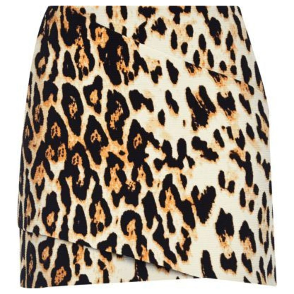 River Island Womens Brown leopard print wrap mini skirt