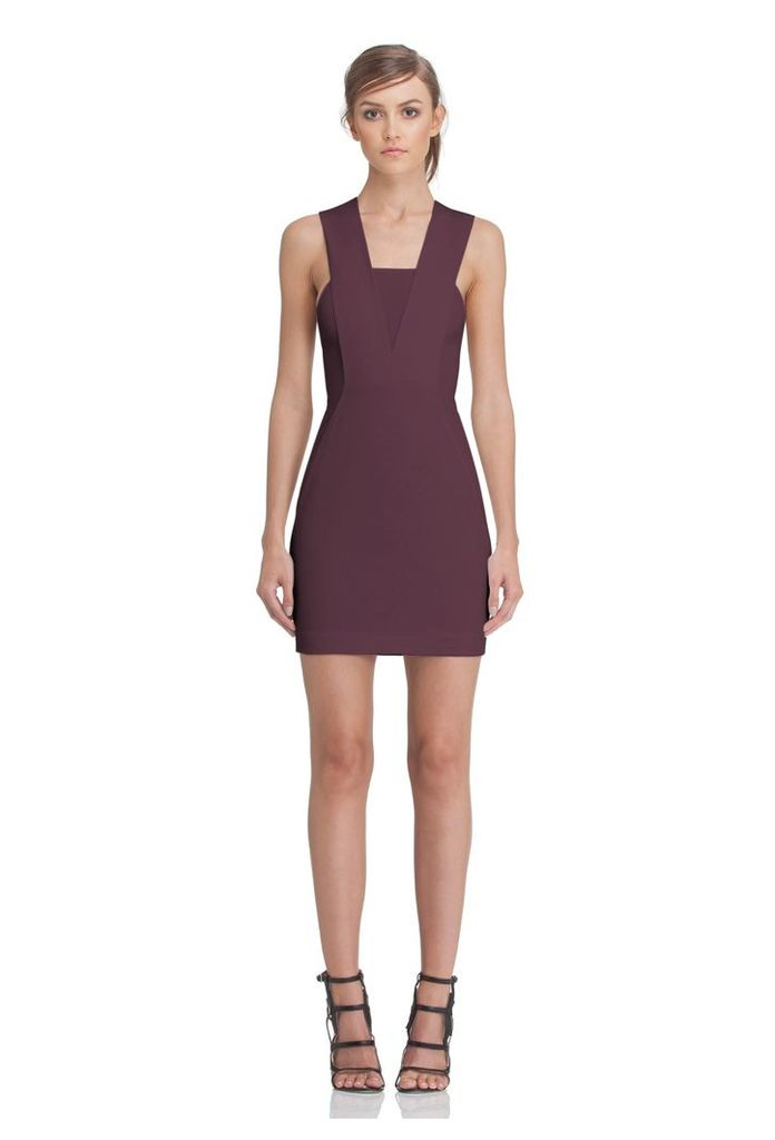 Zeta Panelled Mini Dress - Deep Fig