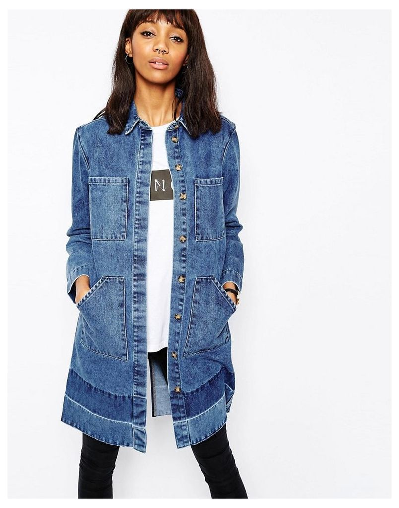 ASOS Denim Drop Hem Duster Coat - Darkwash blue