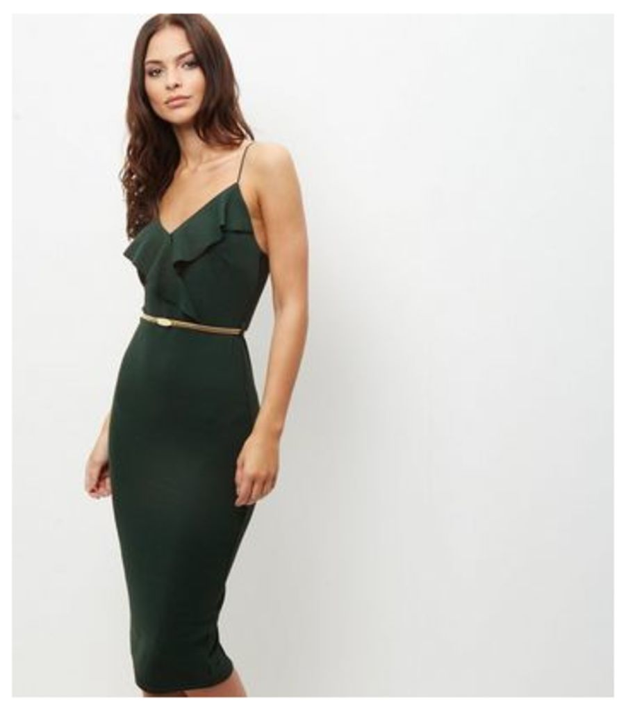 Dark Green Frill Trim Belted Bodycon Dress