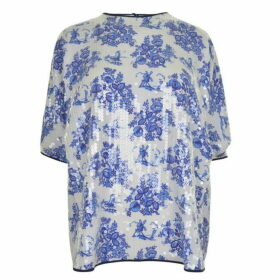 Victoria by Victoria Beckham Printed Sequin Forest Top