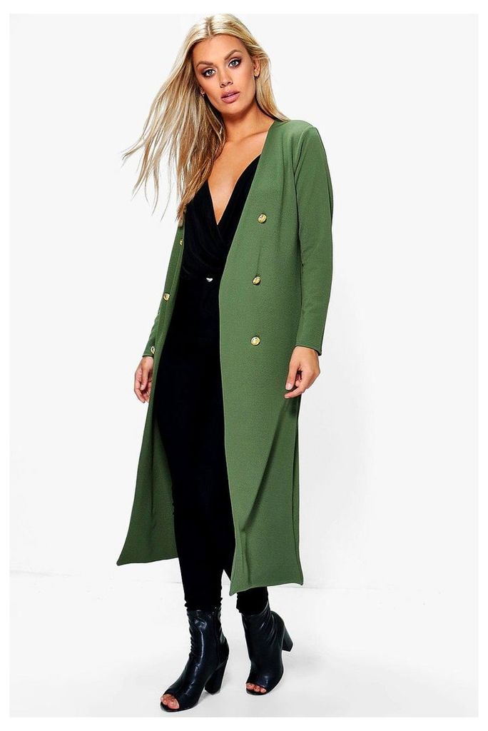 Ava Button Front Longline Duster Jacket - khaki