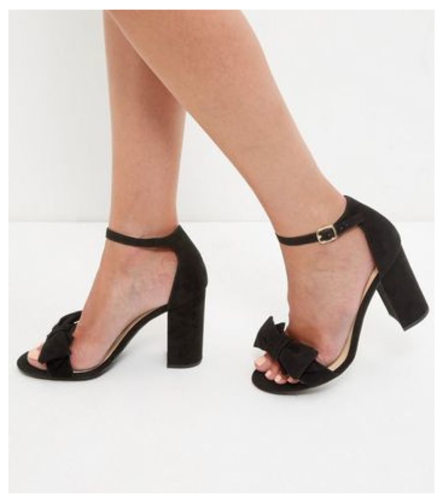 Black Suedette Ankle Strap Block Heel Sandals