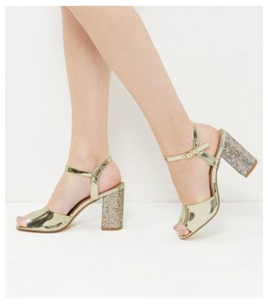 Wide Fit Gold Glitter Block Heels