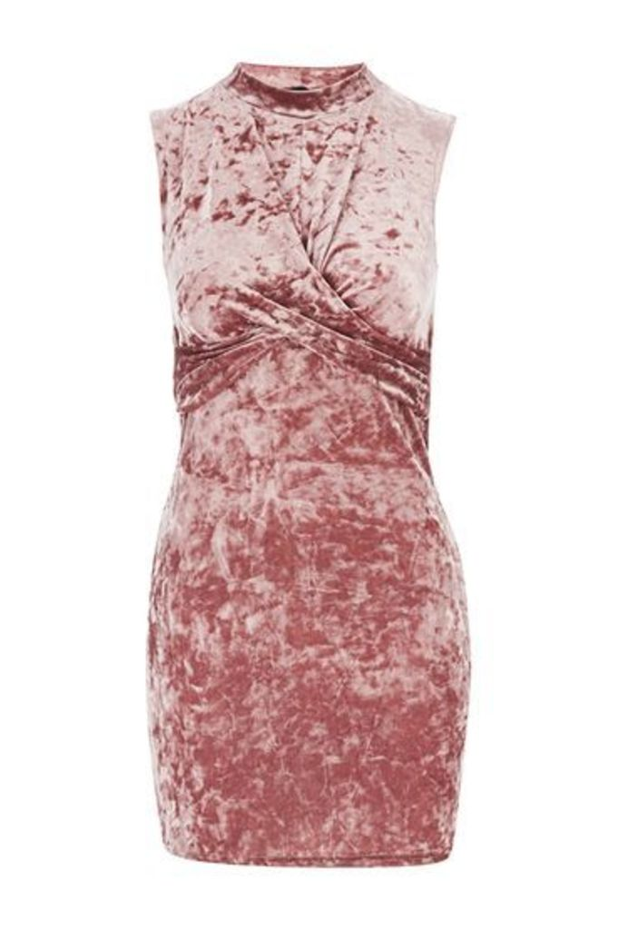 Womens PETITE Velvet Twist Front Dress - Pink, Pink
