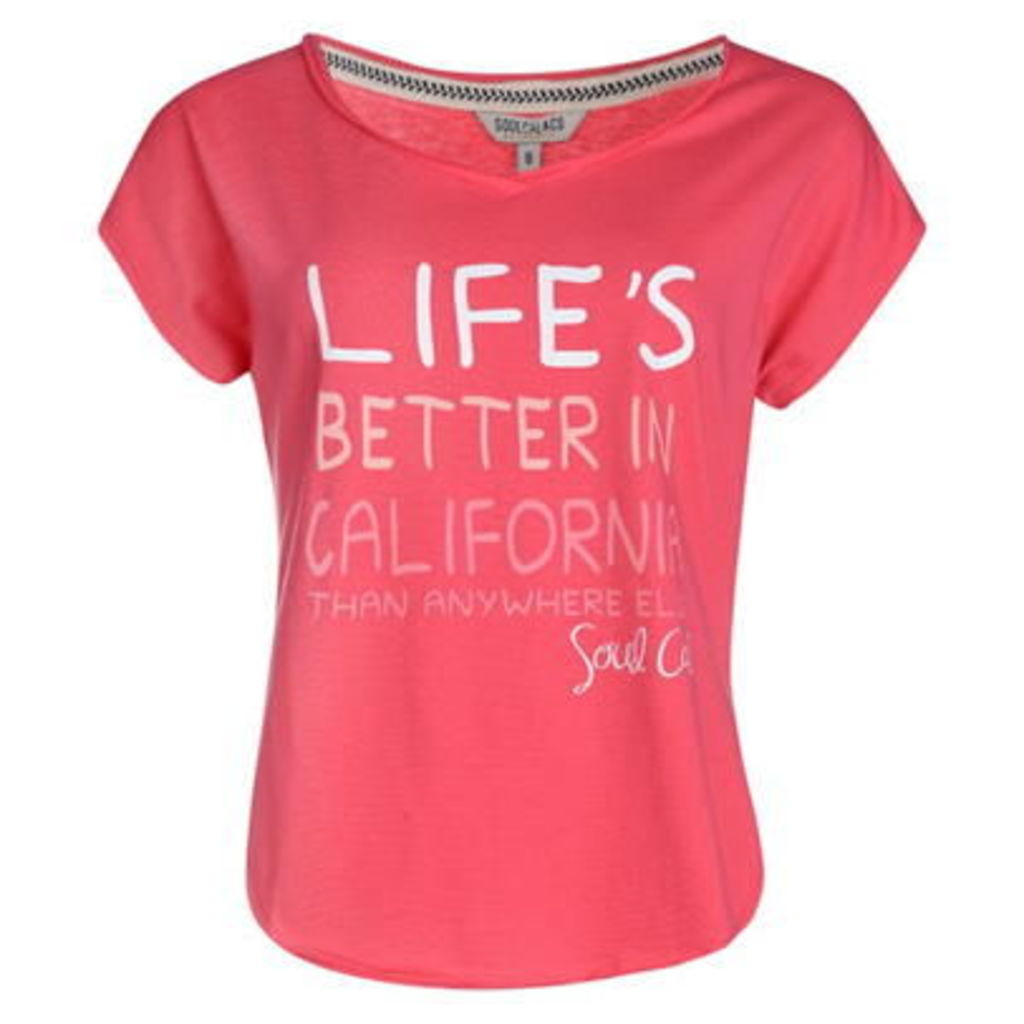Soulcal Life V Neck T Shirt Ladies