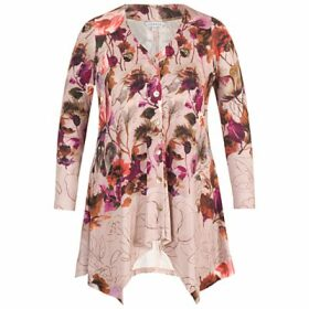 Chesca Floral Border Print Jersey Cardigan, Pink