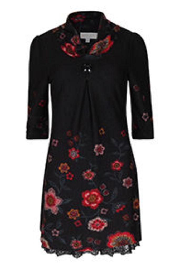 Black Multi-Coloured Folky Floral Print Tunic Dress