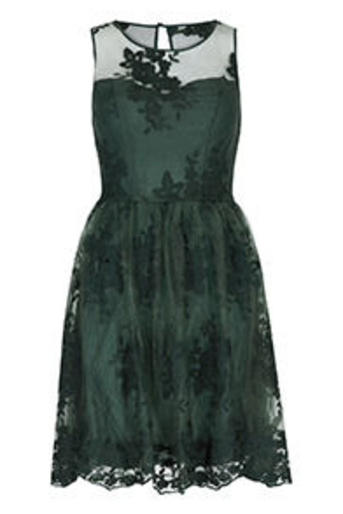 Green Floral Embroidery Structured Dress