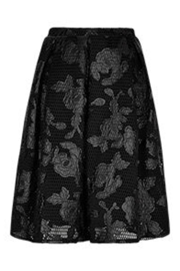 Black Floral Applique Mesh Midi Skirt