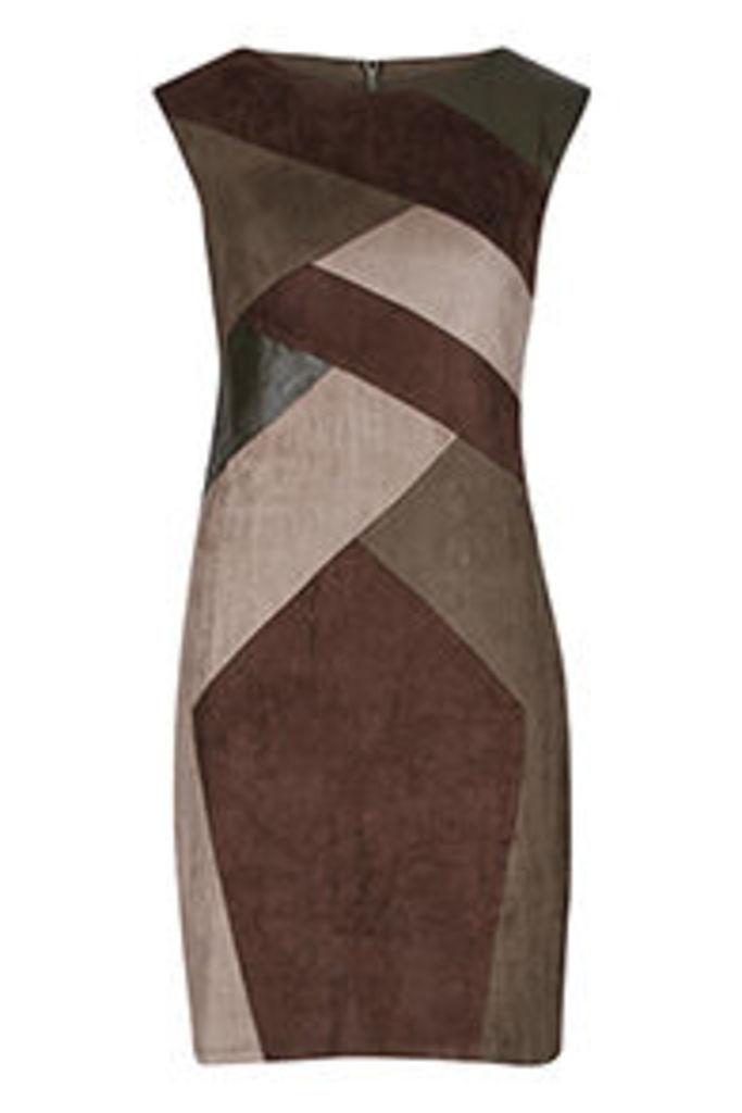 Khaki Brown & Stone Colour Blocking Bodycon Dress