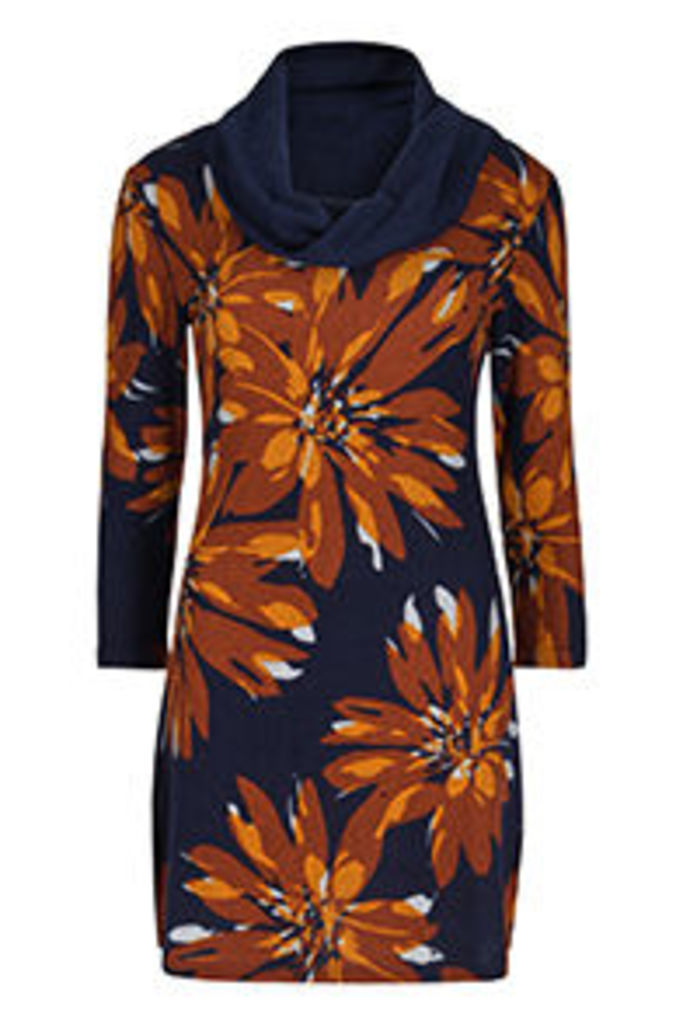 Navy Rust & Cream Painterly Flower Print Tunic Dress