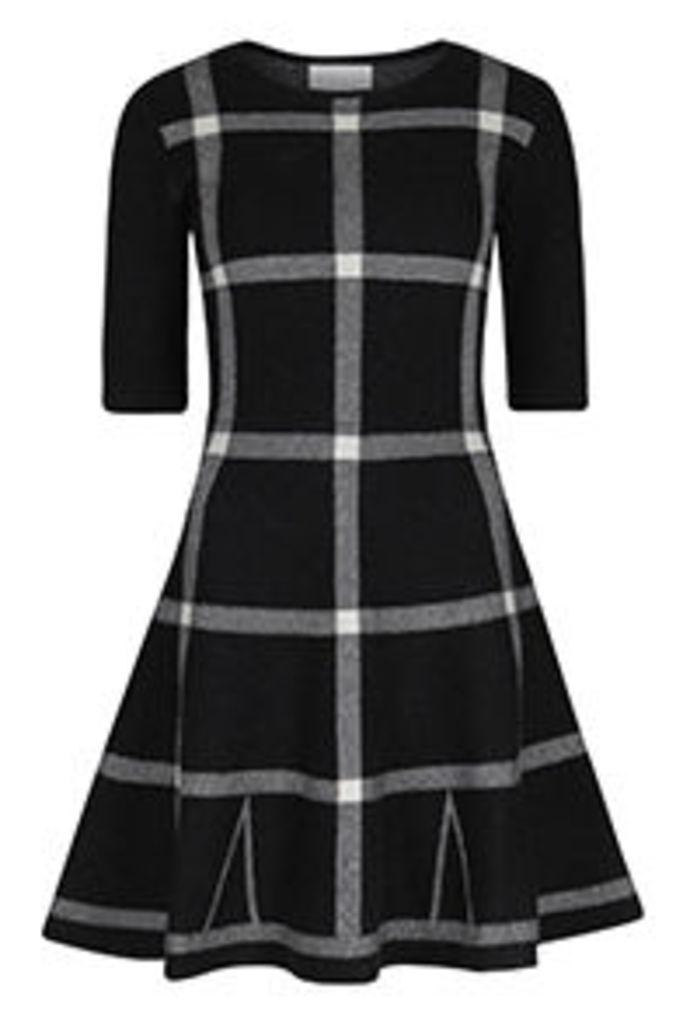 Monochrome Check Pattern Skater Dress