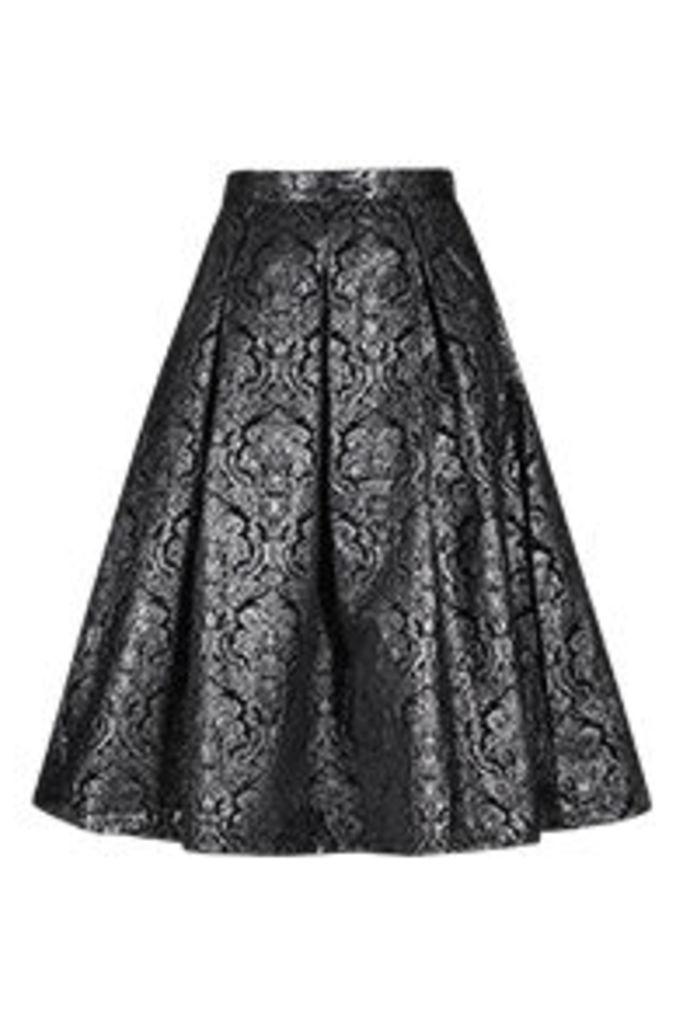 Black & Silver Baroque Pattern Midi Skirt