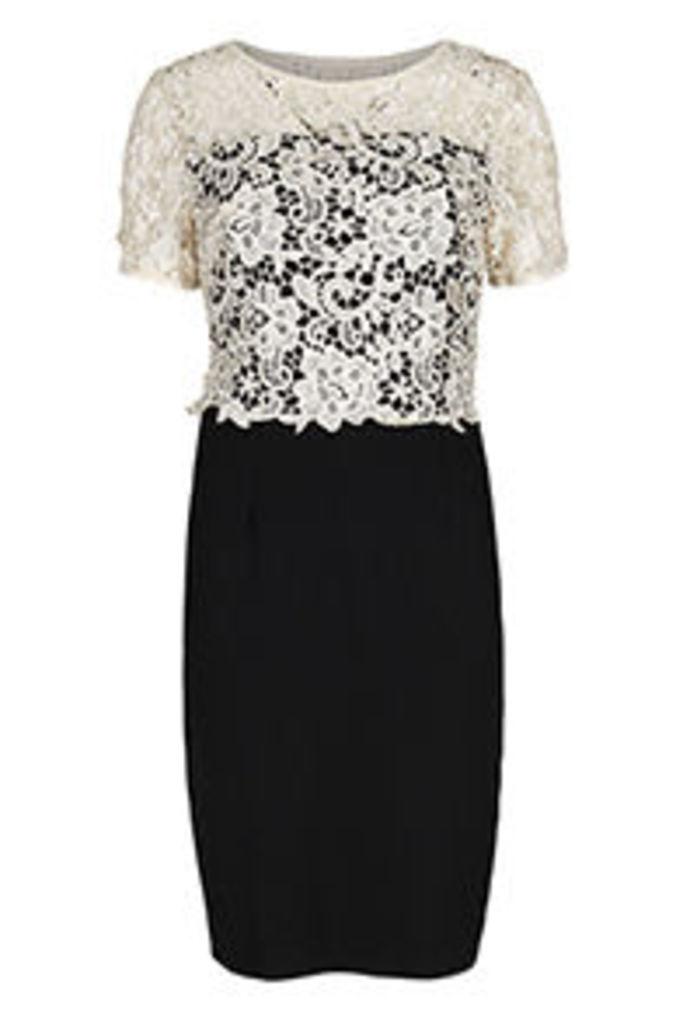 Black & Cream Guipure Lace 2 in 1 Bodycon Dress