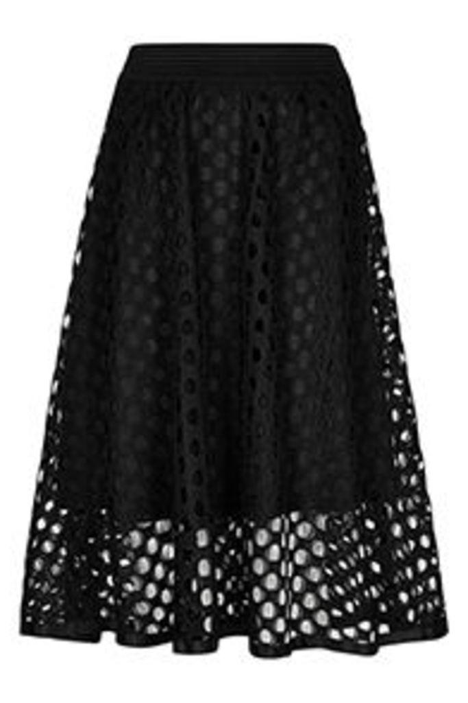 Black Cut-Out Crochet Midi Skirt