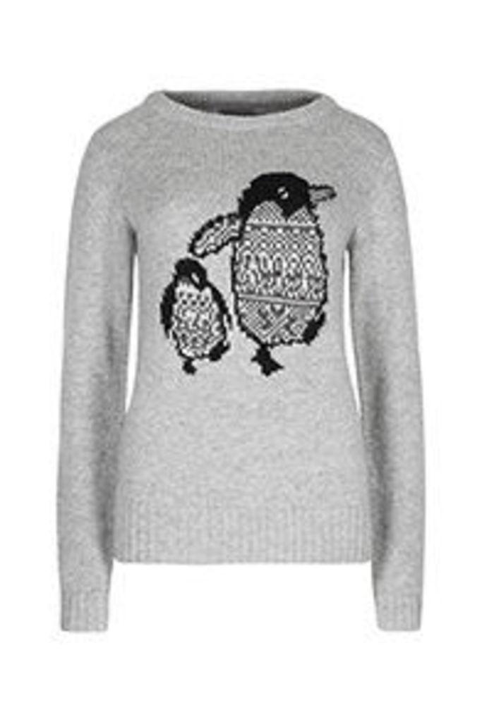 Grey Mother & Baby Penguin Pattern Christmas Jumper