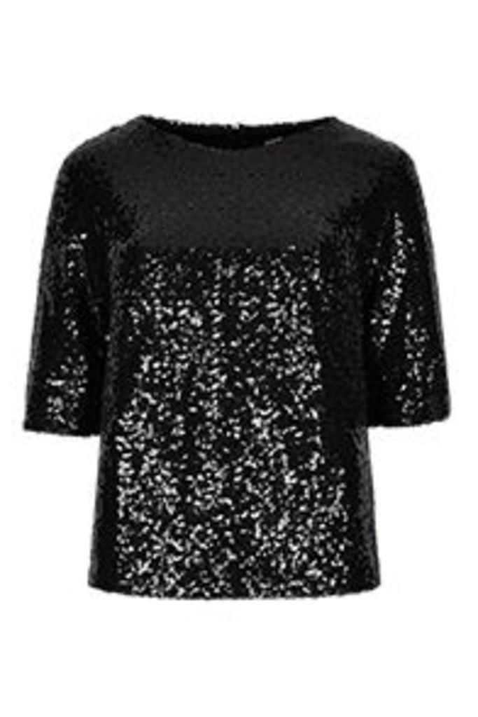 Black All Over Sequin Blouse