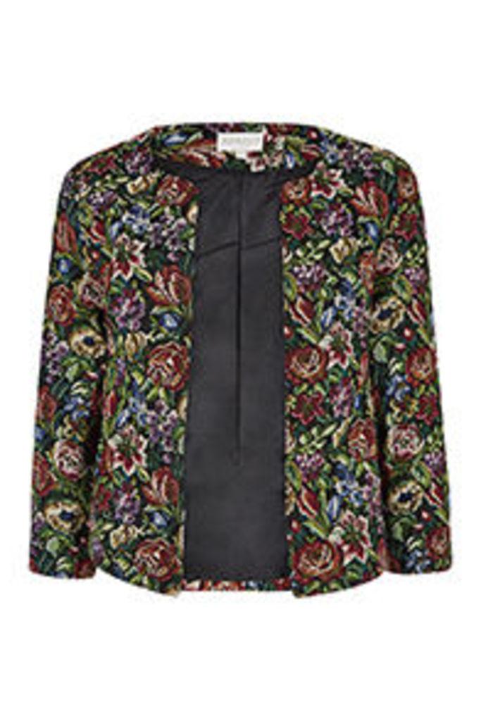 Multi-Coloured Floral Tapestry Pattern Blazer