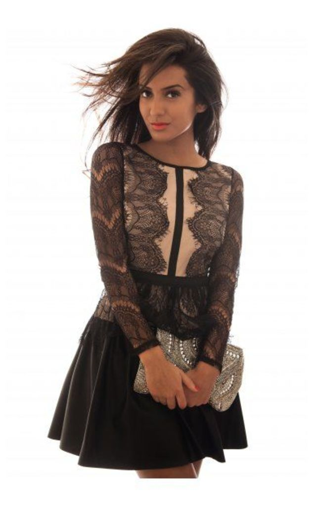 LUXE Mesh Lace & Leather Skater Dress