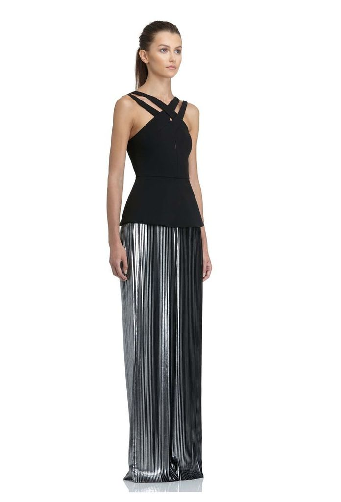 Donnie Metallic Maxi Dress - Black / Silver